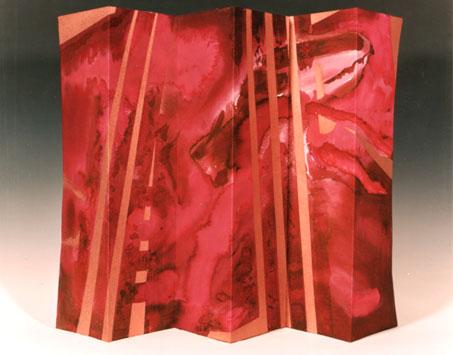 Malerei, Öl: Kleiner Paravent 1, Mischtechnik 40 x 60 cm, 1997