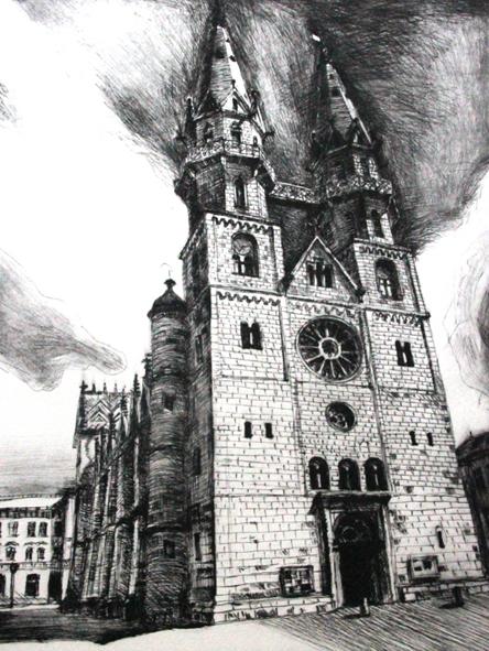"""Radierserie """"Meiningen"""", 2014, Kaltnadelradierungen, Blatt 51x65 cm, Bild 30x40 cm"""