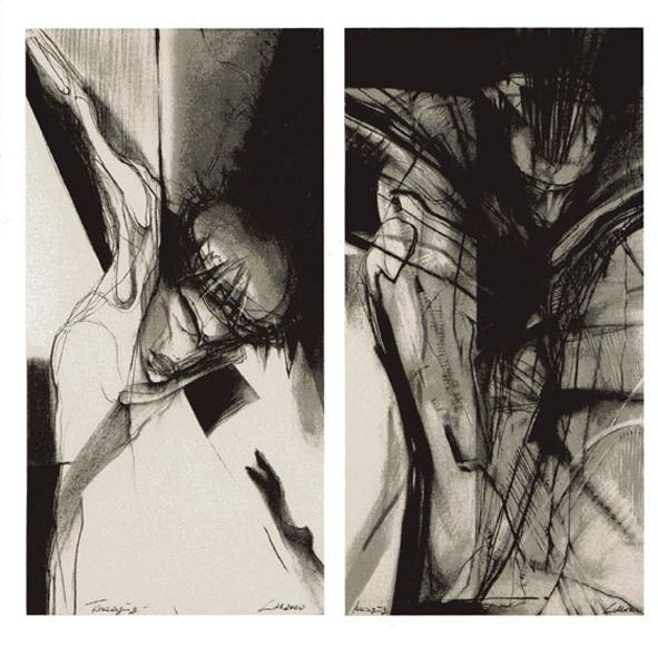 """""""Kreuzigung I-V"""", 2000/2003, Pastell/Kohle auf Bütten, 75x38 cm sowie 60x48 cm"""