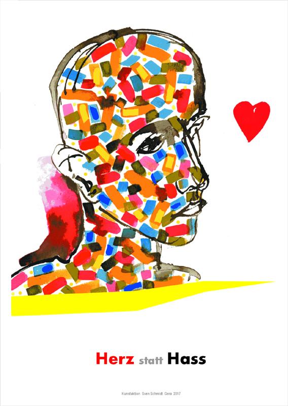 """Plakataktion """"Herz statt Hass"""", 2017, Entwürfe Tuschzeichnungen, Plakataktion in der Stadt mit ausgewählten Beispielen"""