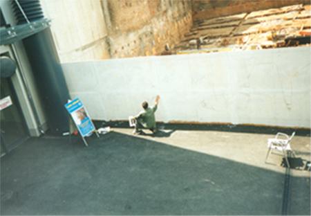 "Aktion ""7 Tage, 7 Köpfe"", 1996, Acryl auf Bauzaun, 700x200 cm"