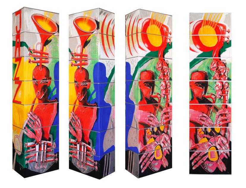 Leuchte VI, 2014, Pastellmalerei, 160x60x30 cm