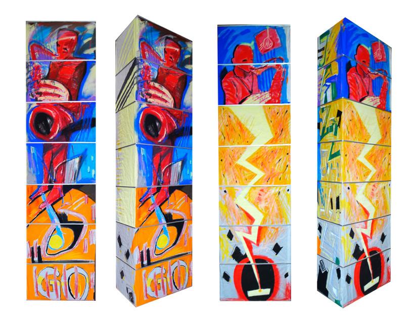 Leuchte VII, 2014, Pastellmalerei, 160x60x30 cm