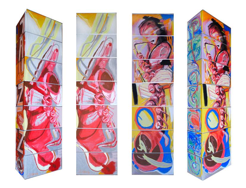 Leuchte VIII, 2014, Pastellmalerei, 160x60x30 cm