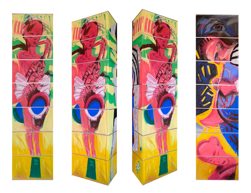 Leuchten II, 2017, Pastellmalerei, 160x60x30 cm