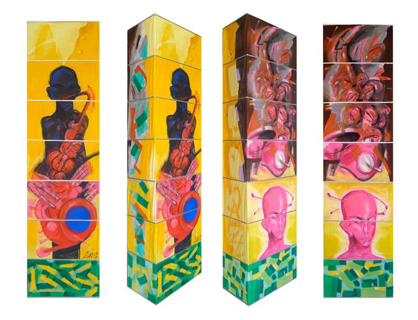 Leuchte I, 2017, Pastellmalerei, 160x60x30 cm