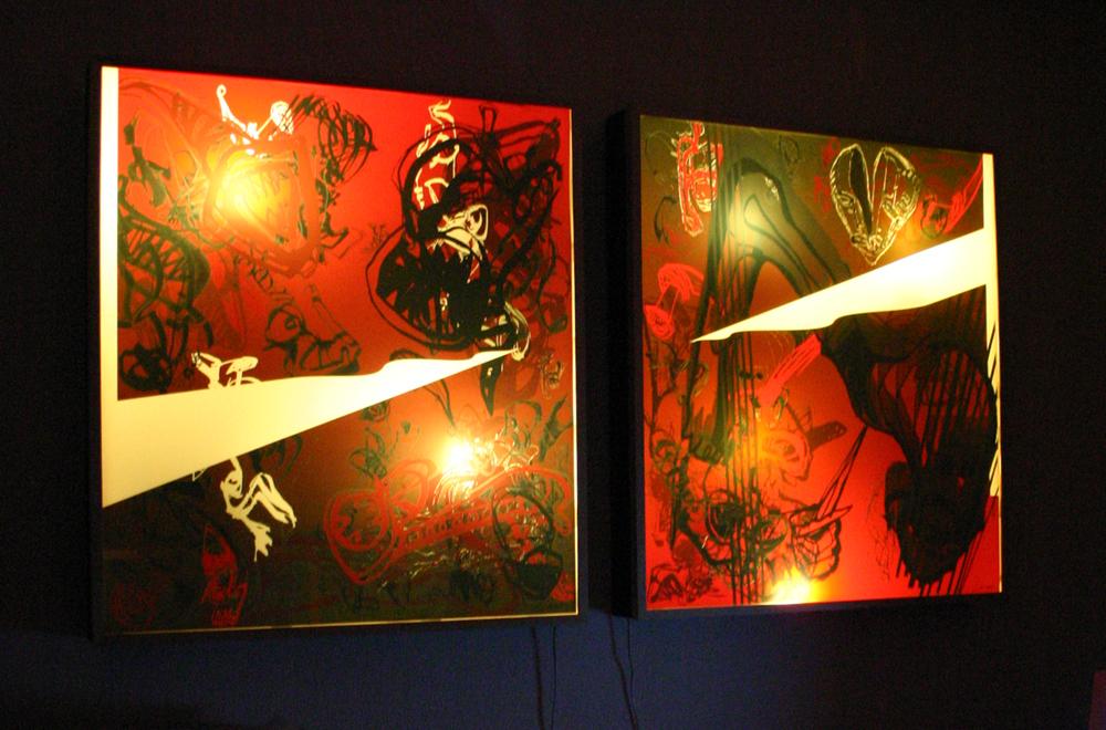 """Lichtkästen """"Engelssturz"""", 2004, Lichtkasten, je 100x100x15 cm"""